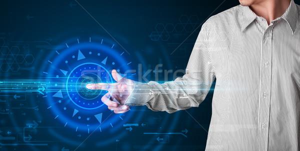 Jóképű tech fickó kisajtolás csúcstechnológia irányítópanel Stock fotó © ra2studio