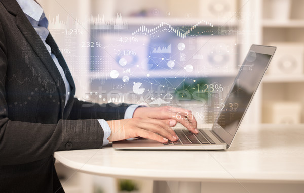 Business woman working on laptop with financial report concept Stock photo © ra2studio