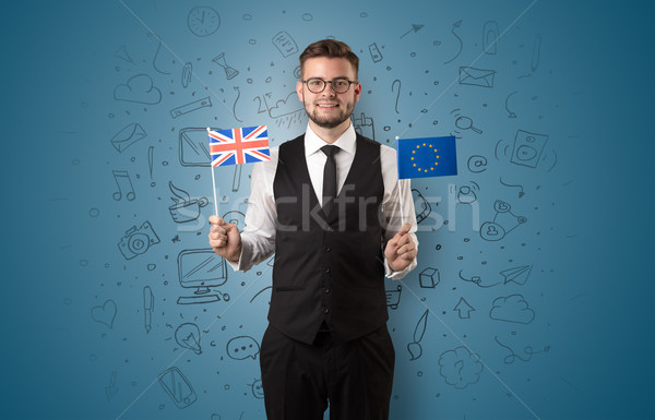 Boy with office symbol concept and flag Stock photo © ra2studio
