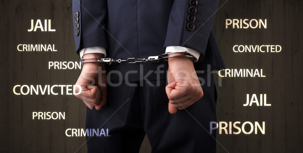 Close convicted with labels and handcuffs Stock photo © ra2studio