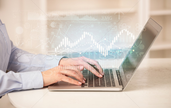 Business woman working on laptop with global financial report co Stock photo © ra2studio