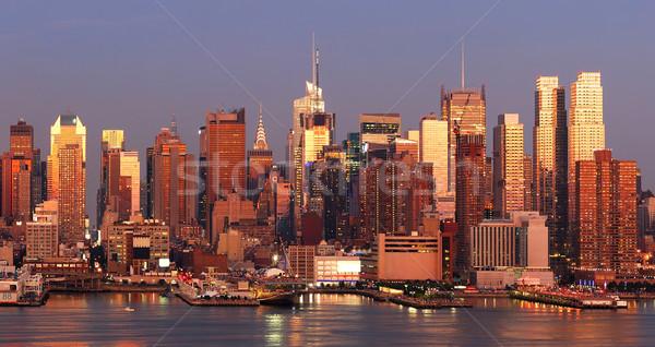 ストックフォト: ニューヨーク市 · マンハッタン · 日没 · スカイライン · パノラマ · タイムズ·スクエア