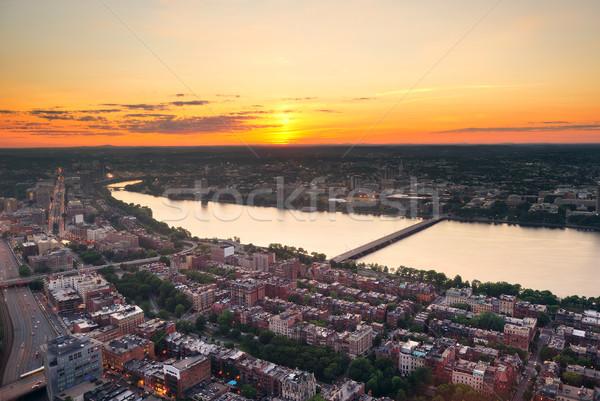 Boston rivière coucher du soleil urbaine bâtiments Photo stock © rabbit75_sto