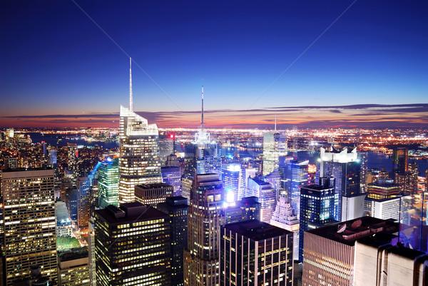 ニューヨーク市 タイムズ·スクエア マンハッタン パノラマ スカイライン 日没 ストックフォト © rabbit75_sto