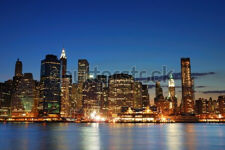 New York Manhattan ufuk çizgisi panorama akşam karanlığı ofis Stok fotoğraf © rabbit75_sto