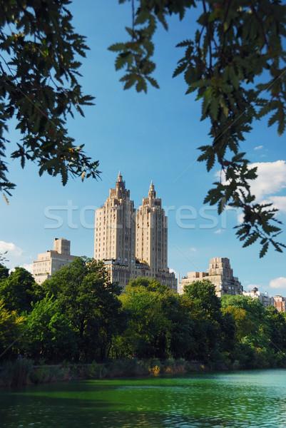 Stok fotoğraf: Central · Park · New · York · Manhattan · ağaçlar · gökdelenler · göl
