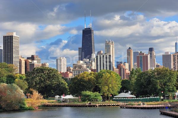 Chicago linha do horizonte arranha-céus parque lago edifício Foto stock © rabbit75_sto