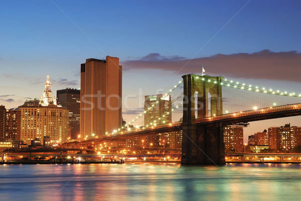 Ponte manhattan New York City linha do horizonte crepúsculo rio Foto stock © rabbit75_sto