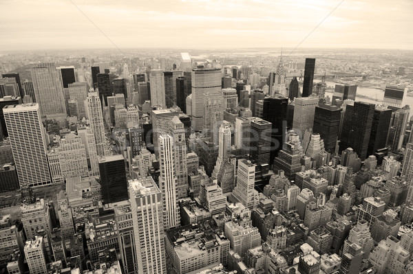 Manhattan skyline New York City wolkenkrabbers zwarte luchtfoto Stockfoto © rabbit75_sto