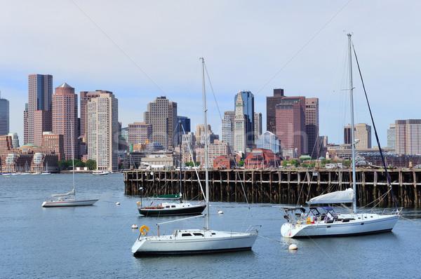 Zeilen boot Boston centrum dok skyline Stockfoto © rabbit75_sto