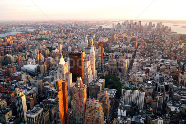 Photo stock: New · York · City · coucher · du · soleil · Manhattan · Skyline · immeuble · de · bureaux