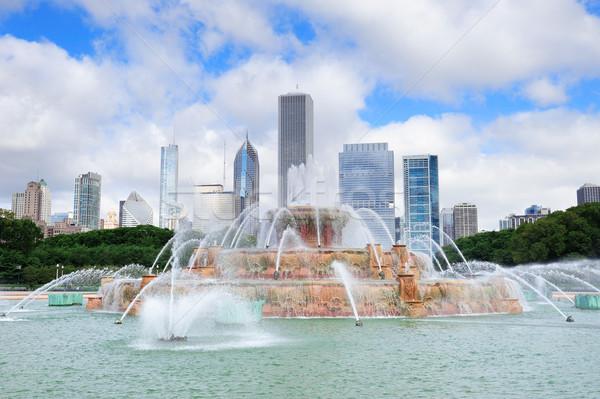 Chicago skyline with Buckingham fountain Stock photo © rabbit75_sto