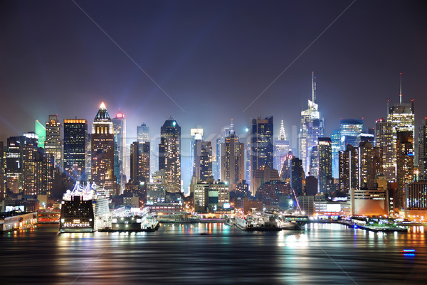 Foto stock: New · York · City · Times · Square · manhattan · linha · do · horizonte · panorama · noite