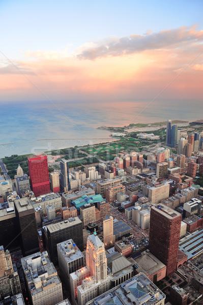 Chicago skyline zonsondergang centrum antenne panorama Stockfoto © rabbit75_sto