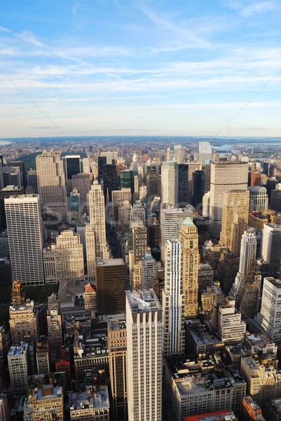 New York City linha do horizonte manhattan pôr do sol prédio comercial Foto stock © rabbit75_sto