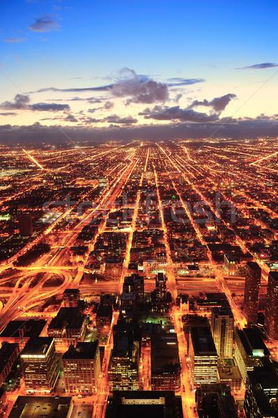 Chicago schemering centrum antenne panorama Stockfoto © rabbit75_sto