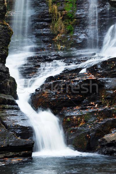 Najaar waterval berg bomen rotsen Pennsylvania Stockfoto © rabbit75_sto