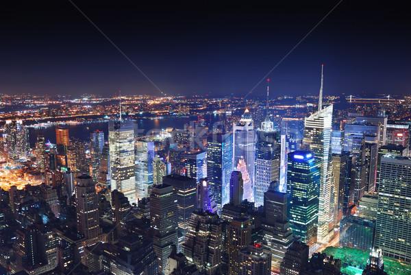 New York Manhattan éjszaka Times Square panoráma légifelvétel Stock fotó © rabbit75_sto