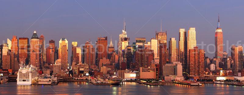 ニューヨーク市 スカイライン マンハッタン パノラマ 日没 エンパイアステートビル ストックフォト © rabbit75_sto