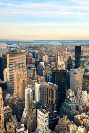 Manhattan naplemente New York sziluett légifelvétel irodaház Stock fotó © rabbit75_sto