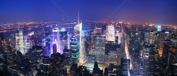 New York City Manhattan Times Square skyline luchtfoto panorama Stockfoto © rabbit75_sto