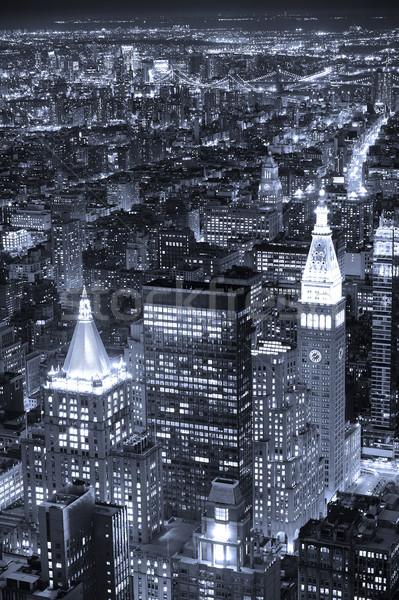 Сток-фото: Нью-Йорк · Manhattan · Skyline · сумерки · черный