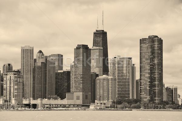 Chicago ville urbaine Skyline blanc noir gratte-ciel Photo stock © rabbit75_sto