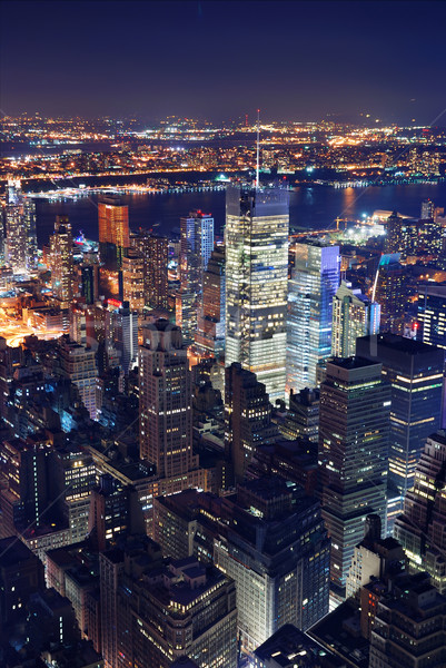 New York City luchtfoto nacht Manhattan Times Square panorama Stockfoto © rabbit75_sto