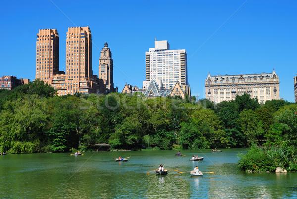 Manhattan Central Park New York City linha do horizonte arranha-céus blue sky Foto stock © rabbit75_sto