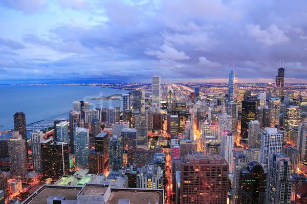 Stok fotoğraf: Chicago · ufuk · çizgisi · panorama · gökdelenler · göl