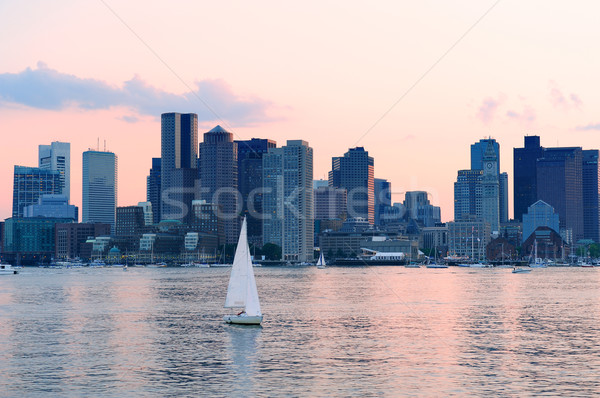 Boston centrum zonsondergang skyline rivier wolkenkrabbers Stockfoto © rabbit75_sto