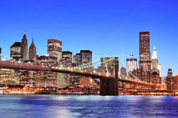 橋 ニューヨーク市 マンハッタン タウン スカイライン 夕暮れ ストックフォト © rabbit75_sto