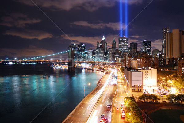 New York City nuit 11 septembre Manhattan panorama vue Photo stock © rabbit75_sto
