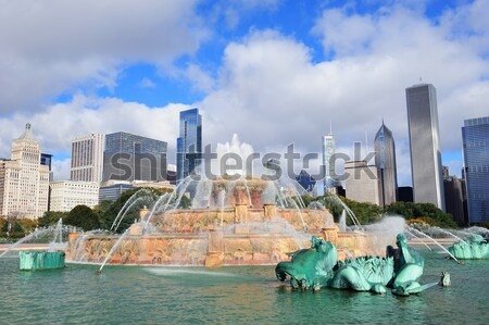 Chicago skyline fontein panorama wolkenkrabbers Stockfoto © rabbit75_sto