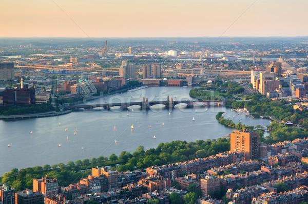 Boston rivier zonsondergang luchtfoto stedelijke gebouwen Stockfoto © rabbit75_sto