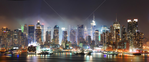 New York Times Square Manhattan sziluett panoráma éjszaka Stock fotó © rabbit75_sto