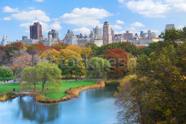 Stockfoto: New · York · City · Manhattan · Central · Park · panorama · najaar · meer