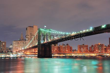 Photo stock: New · York · City · Manhattan · Skyline · pont · crépuscule · rivière