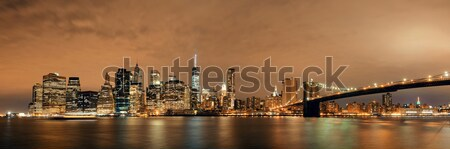 Foto stock: New · York · City · manhattan · linha · do · horizonte · panorama · ponte · escritório