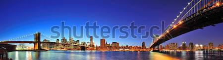 Foto stock: New · York · City · manhattan · panorama · crepúsculo · linha · do · horizonte · ponte