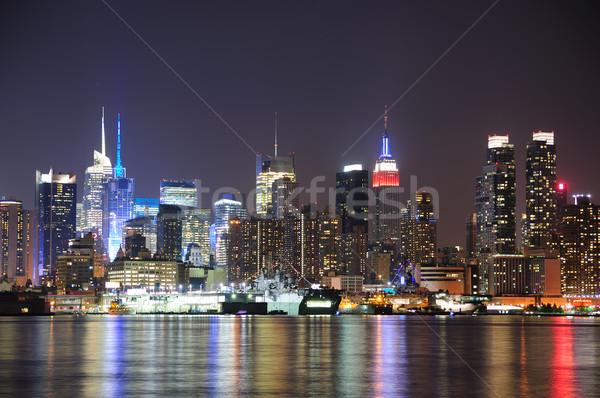 ニューヨーク市 マンハッタン スカイライン 1泊 ライト 反射 ストックフォト © rabbit75_sto