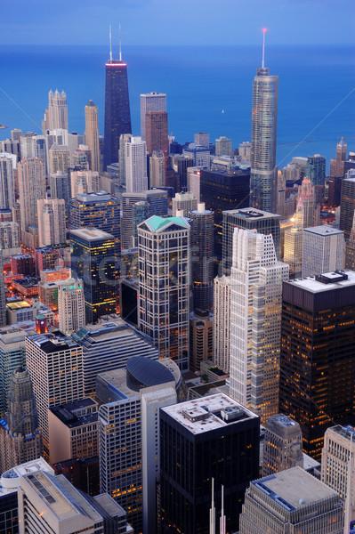 Chicago şehir merkezinde akşam karanlığı gökdelenler Stok fotoğraf © rabbit75_sto
