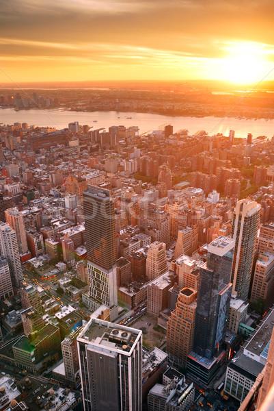 New York City pôr do sol manhattan linha do horizonte prédio comercial Foto stock © rabbit75_sto