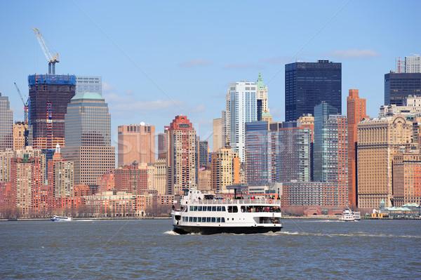 New York City manhattan arranha-céus barco urbano centro da cidade Foto stock © rabbit75_sto