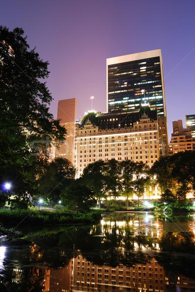 New York City Central Park nacht Manhattan wolkenkrabbers Stockfoto © rabbit75_sto