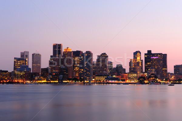 ボストン タウン スカイライン 夕暮れ 都市 建物 ストックフォト © rabbit75_sto