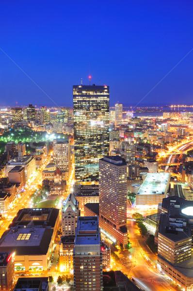 Boston skyline schemering luchtfoto wolkenkrabbers Stockfoto © rabbit75_sto