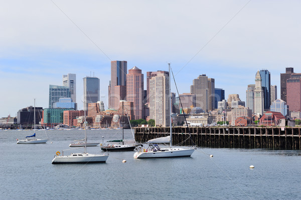 Sailing boat and Boston downtown Stock photo © rabbit75_sto