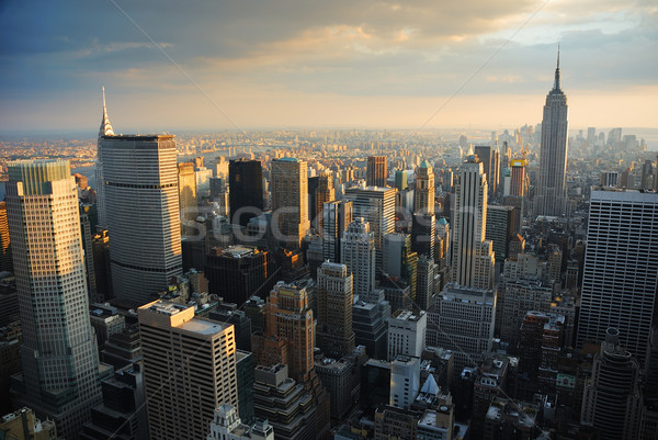 New York City Skyline manhattan Luftbild Sonnenuntergang Himmel Stock foto © rabbit75_sto