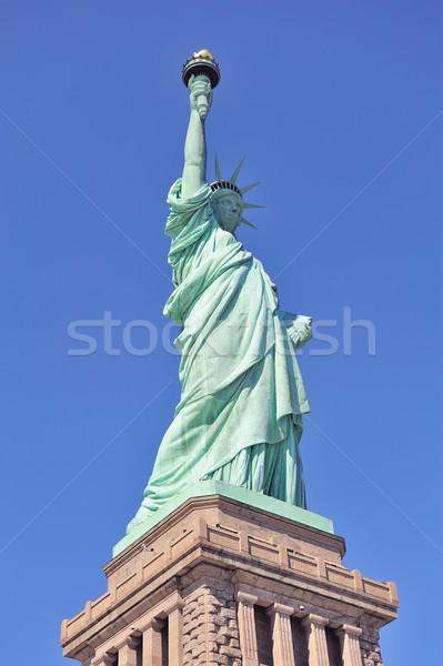 Stok fotoğraf: Heykel · özgürlük · ada · mavi · gökyüzü · New · York